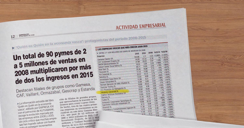 HTG Express, en el puesto 14 de las pymes vascas que más crecieron en 2008-2015
